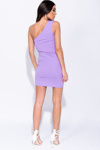 Lilac One Shoulder Cut Out Detail Bodycon Mini Dress