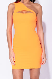 Neon Orange One Shoulder Cut Out Detail Bodycon Mini Dress