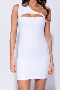 White One Shoulder Cut Out Detail Bodycon Mini Dress