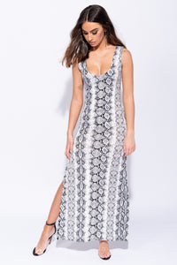 Black White Snake Print Thigh Split Scoop Neck Maxi Dress - Parisian-uk