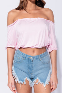 Baby Pink Bardot Frill Detail Crop Top - Parisian-uk