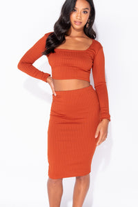 Rust Rib Knit Scoop Neck Long Sleeve Crop Top & Rib Knit Midi Skirt