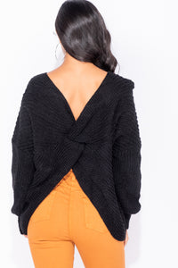 Black Knot Detail Dropped Sleeve Jumper