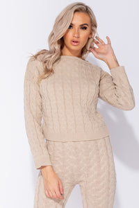 Beige Cable Knit Long Sleeve Cropped Top & Legging Lounge Set