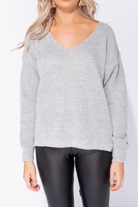 Grey V Neck Oversized Jumper