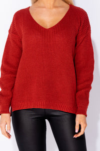 Rust V Neck Side Split Jumper