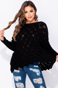 Black Honeycomb Batwing Sleeve Oversized Jumper