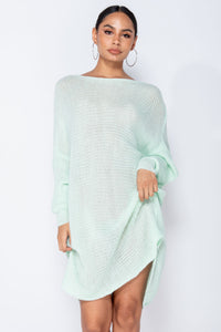 Mint Dipped Hem Batwing Sleeve Oversized Knitted Jumper Dress