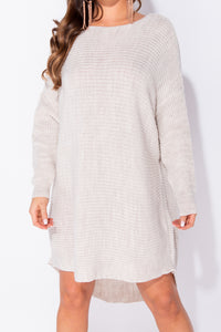 Stone Dipped Hem Batwing Sleeve Oversized Knitted Jumper Dress