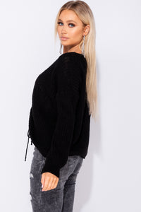 Black V Neck Ruching Detail Tie Up Jumper