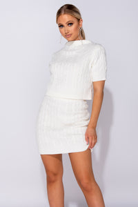 Cream Cable Knit Short Sleeve Crop Top & Mini Skirt Co-Ord Set