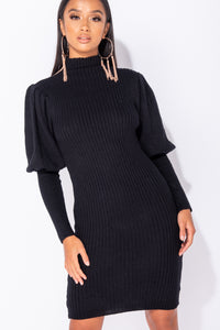 Black Puff Sleeve High Neck Rib Panel Knitted Jumper Dress