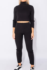Black Rib Knit Turtle Neck Crop Top & Legging Lounge Set