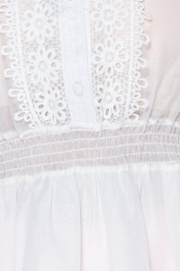 White Broderie Lace Trim Puff Sleeve Sheer Blouse