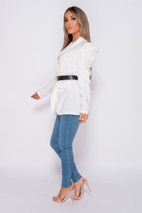 White Puffed Sleeve Buckle Belt Detail Blazer