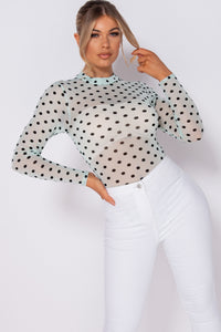 Mint Polka Dot Mesh High Neck Bodysuit
