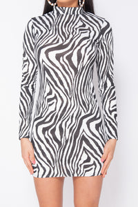 Black White Zebra Print High Neck Long Sleeve Bodycon Dress