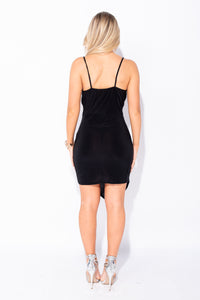 Black Wrapover Detail Asymmetric Hem Bodycon Dress