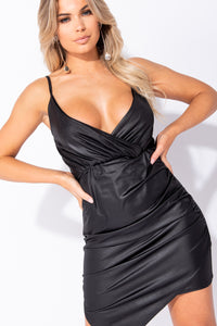 Black Wet Look Wrapover Detail Asymmetric Hem Bodycon Dress