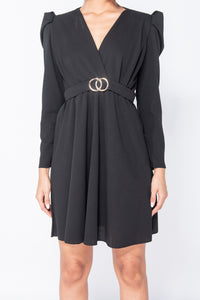 Black Puffed Sleeve Wrap Front Buckle Detail Mini Dress