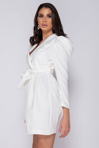 White Puffed Sleeve Wrap Over Front Pleated Mini Dress
