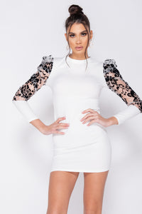 White Sheer Flock Print Organza Sleeve High Neck Bodycon Mini Dress
