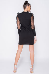Black Polka Dot Sheer Puffed Sleeve Bodycon Mini Dress