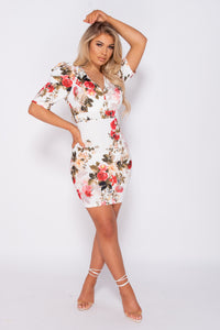 White Floral Print Puffed Sleeve Open Back Bodycon Mini Dress