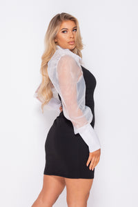 Black White Sheer Shirt Detail Front Slit Bodycon Mini Dress
