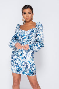 White Blue Floral Sweetheart Neckline Puff Sleeve Mini Dress