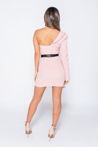 Pink Asymmetric Sleeve Belted Mini Blazer Dress