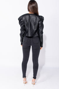 Black PU Puff Sleeve Zip Front Jacket