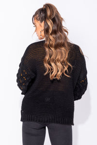 Black Basket Weave Sleeve Edge To Edge Cardigan
