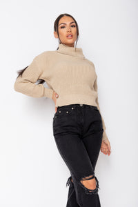 Beige Roll Neck Ribbed Jumper