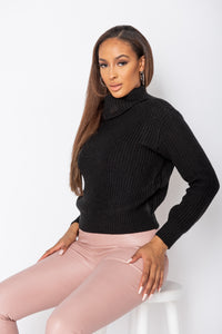 Black Roll Neck Ribbed Jumper