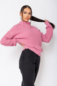 Pink Roll Neck Ribbed Jumper