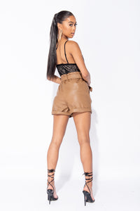 Camel PU Paperbag Waist Self Belt Turn Up Hem Shorts
