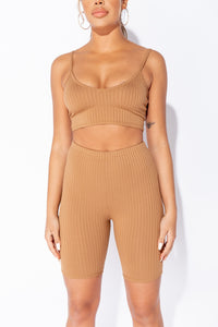 Camel Rib Crop Strap Top & Cycling Shorts Co Ord Set