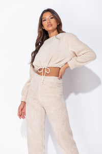 Beige Teddy Borg Cropped Top & Jogger Lounge Set