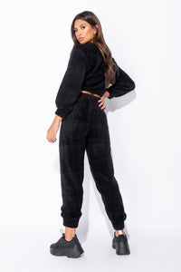 Black Teddy Borg Cropped Top & Jogger Lounge Set