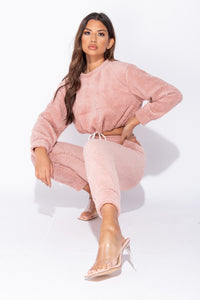 Dark Pink Teddy Borg Cropped Top & Jogger Lounge Set