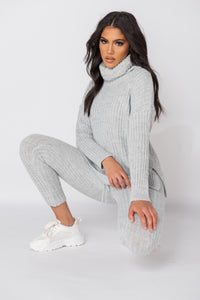 Grey Rib Knit Roll Neck Jumper & Legging Lounge Set