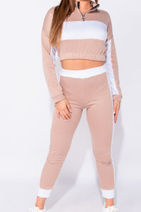 Nude Colour Blocked Zip Detail Cropped Top Lounge Set