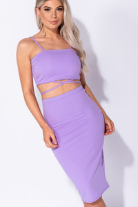 Lilac Crossover Front Strappy Crop Top