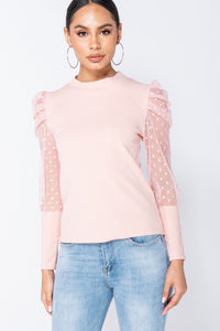Nude Polka Dot Mesh Sleeve Top