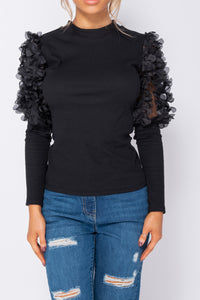 Black Sheer Frill Detail Sleeve High Neck Rib Knit Top