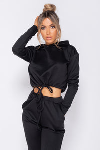 Black Drawsting Detail Cropped Hoodie & Jogging Trousers Set