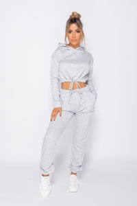 Grey  Drawsting Detail Cropped Hoodie & Jogging Trousers Set