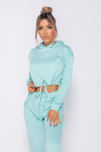 Mint Drawsting Detail Cropped Hoodie & Jogging Trousers Set