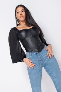 Black PU Corset Detail Top With Sheer Sleeves